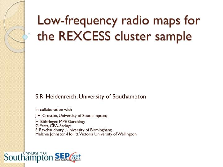 low frequency radio maps for the rexcess cluster sample n.