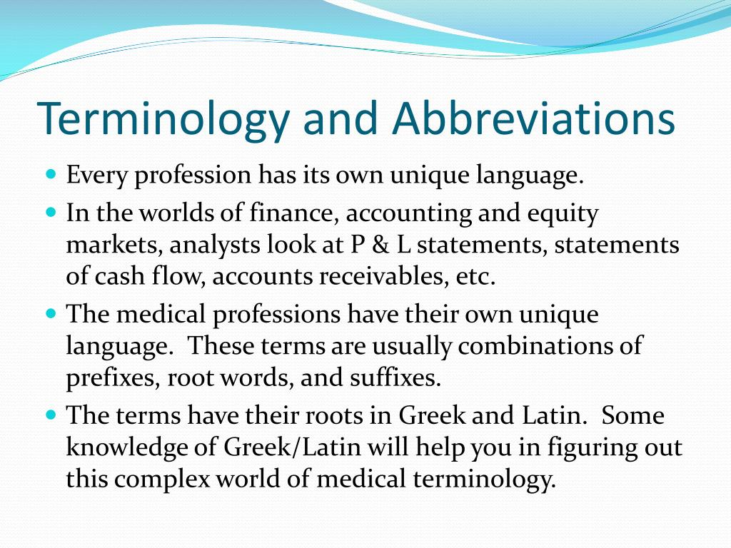 ppt terminology and abbreviations powerpoint presentation id 2172654