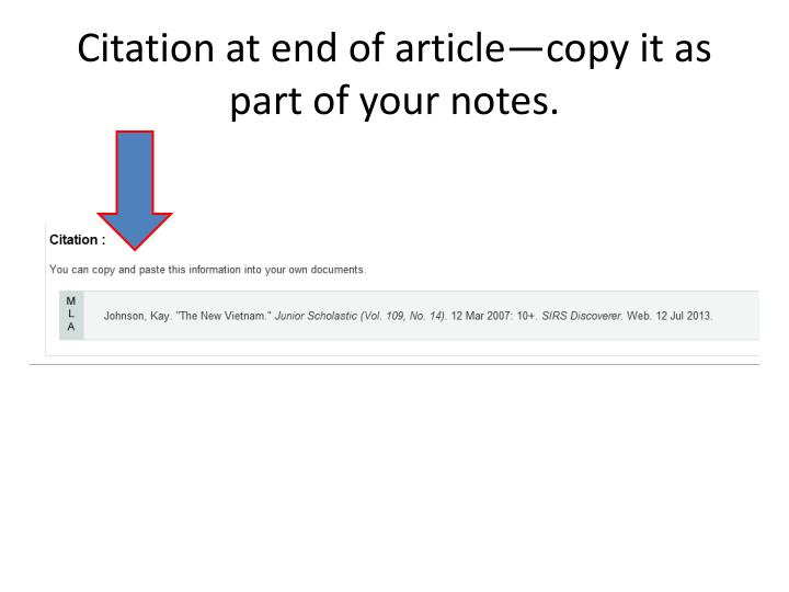 Citation at end of article—copy it as part of your notes.