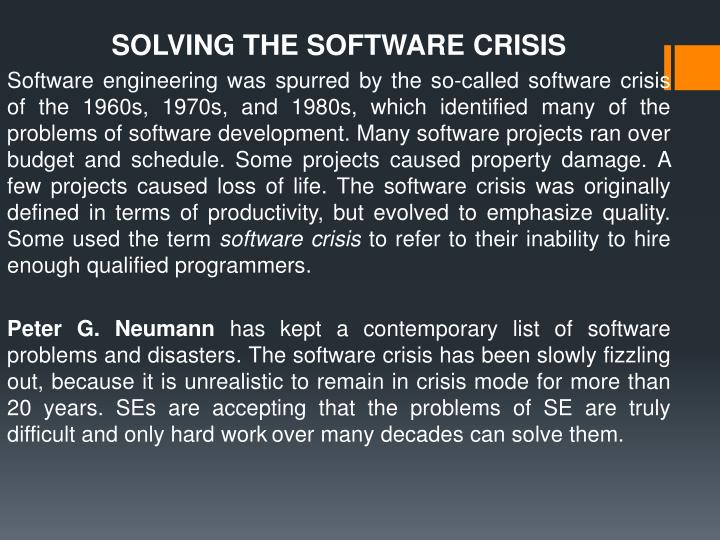 SOLVING THE SOFTWARE CRISIS