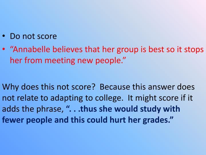 Do not score