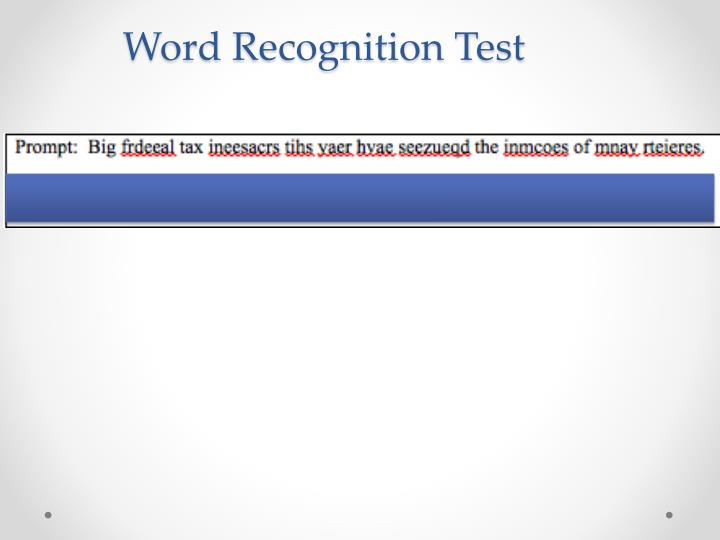 Word Recognition Test