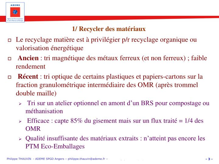1 recycler des mat riaux