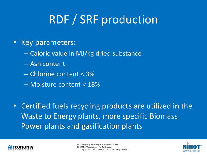 RDF / SRF production