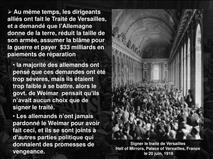 Signer le traité de Versailles