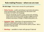 rule making process where we are now