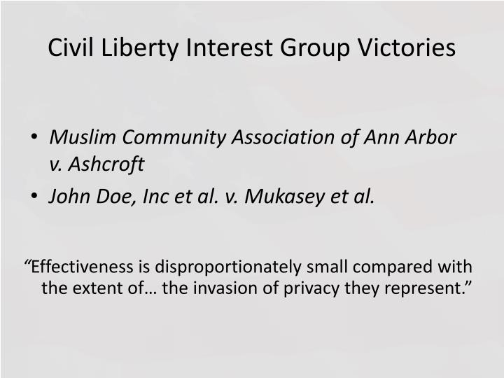 Civil Liberty Interest Group Victories