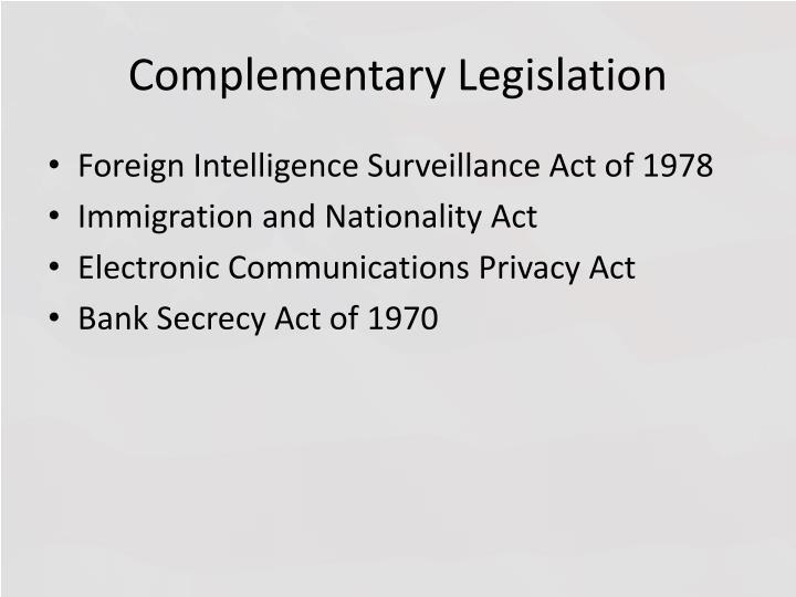 Complementary Legislation