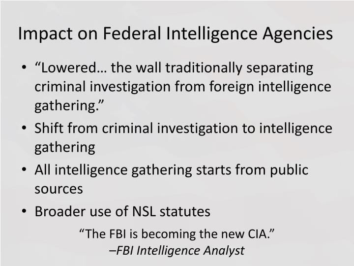 Impact on Federal Intelligence Agencies