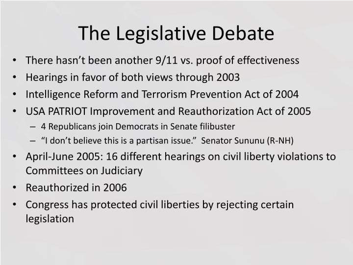 The Legislative Debate