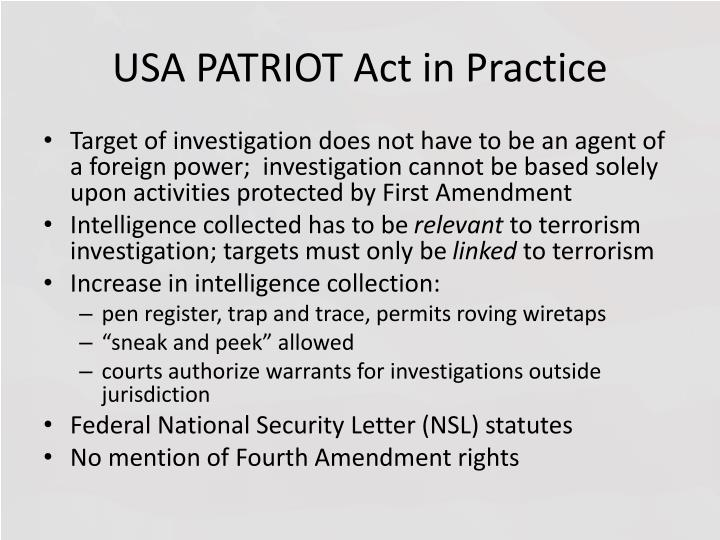 USA PATRIOT Act in Practice