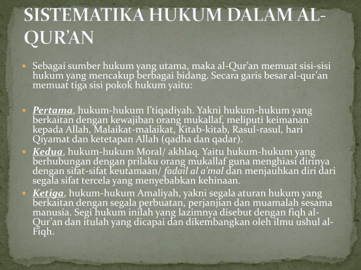 SISTEMATIKA HUKUM DALAM AL-QUR'AN