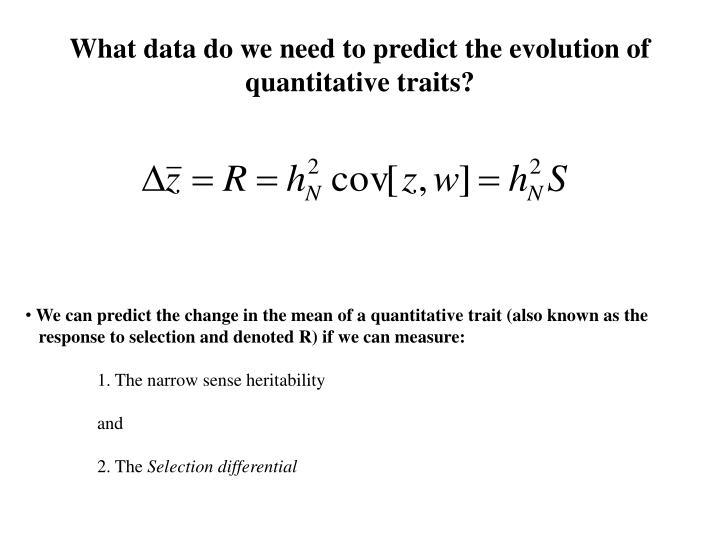 What data do we need to predict the evolution of quantitative traits?