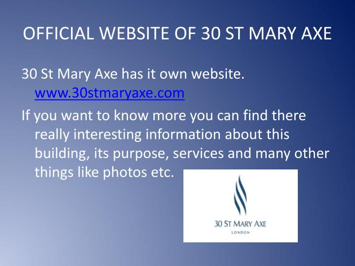 OFFICIAL WEBSITE OF 30 ST MARY AXE