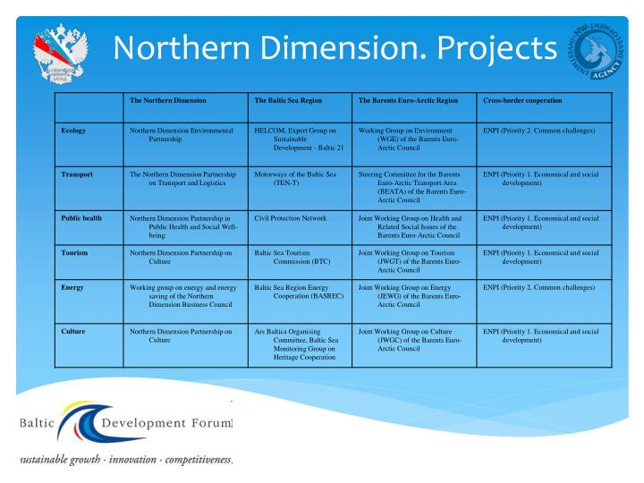 Northern Dimension. Projects