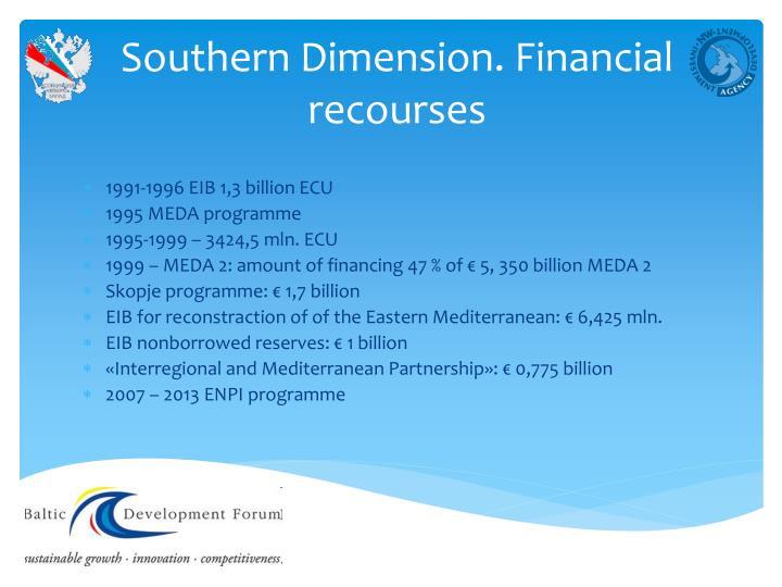 Southern Dimension. Financial recourses