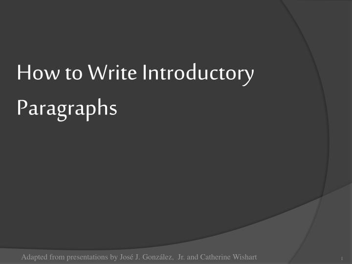 how to w rite introductory paragraphs