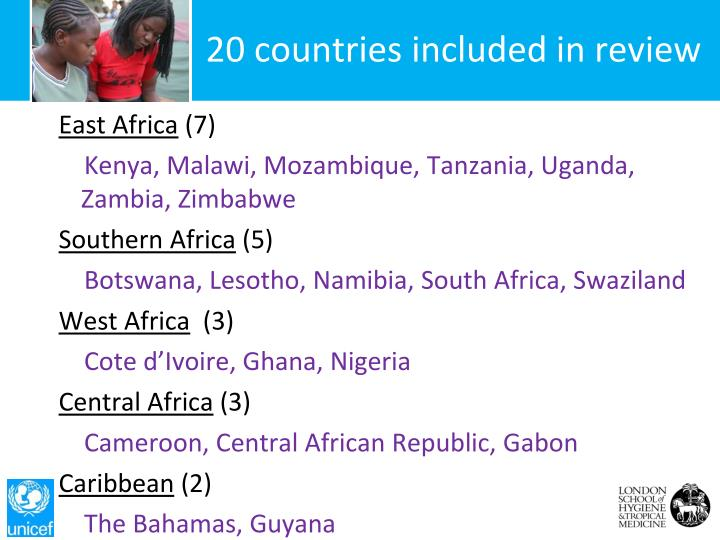 20 countries included in review