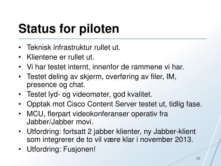 Status for piloten