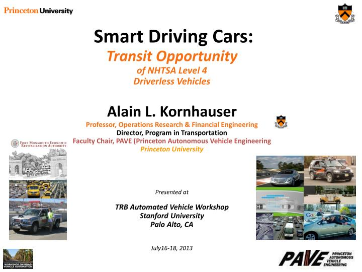 PPT - Smart Driving Cars: Transit Opportunity of NHTSA Level