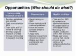 opportunities who should do what