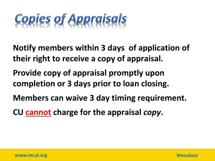 Copies of Appraisals