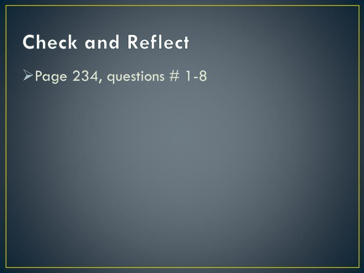 Check and Reflect