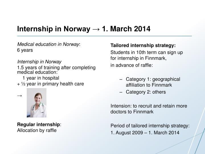 Internship in norway 1 m arch 2014