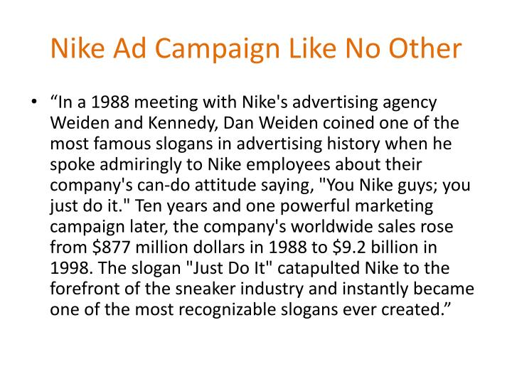 Nike ad campaign like no other