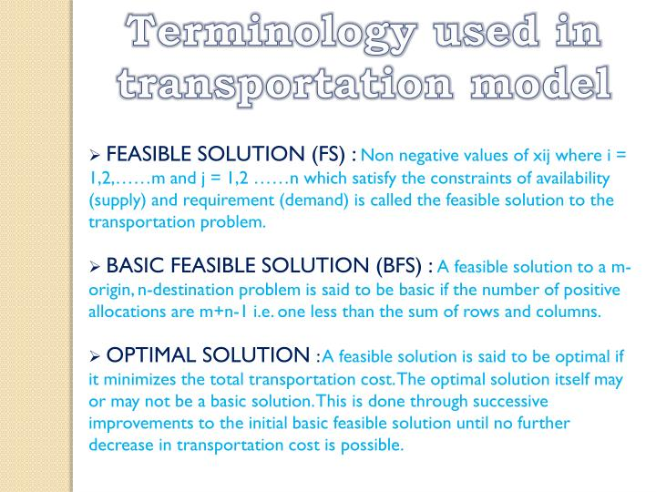 Terminology used in transportation model