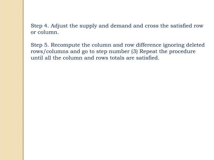 Step 4. Adjust the supply and demand and cross the satisfied row or column.