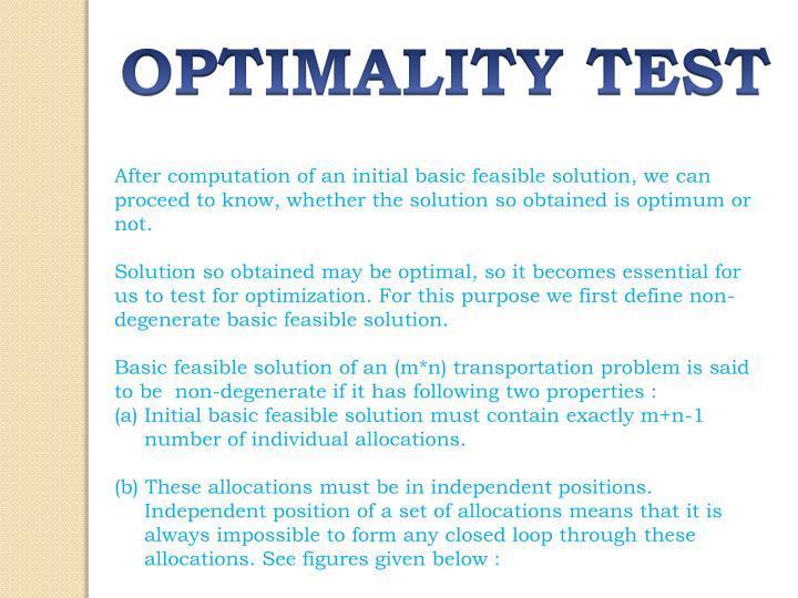 OPTIMALITY TEST