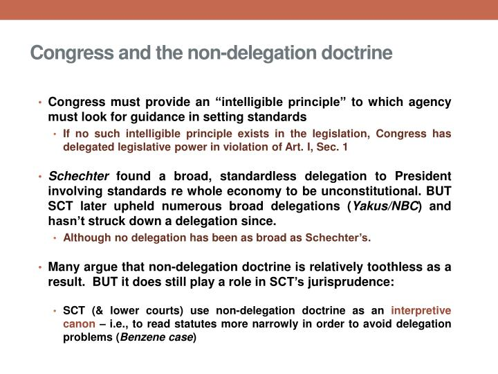 an analysis of the delegation of legislative authority by congress View test prep - chapter 5 delegation from pa 4350 at university of texas at dallas, richardson chapter 5 delegation most authority delegated by congress is quasi-legislative authority o.