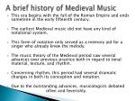 a brief history of medieval music