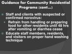 guidance for community residential programs cont