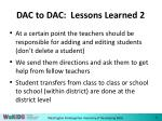 dac to dac lessons learned 2