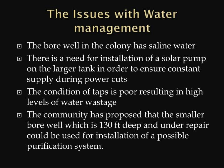 the issues with water management n.
