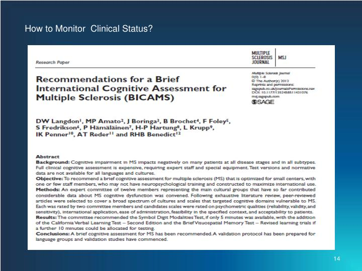 How to Monitor  Clinical Status?
