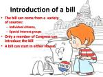 introduction of a bill