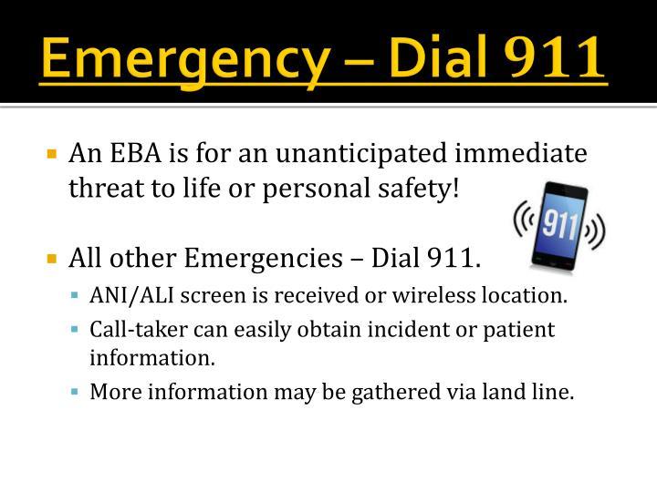 Emergency – Dial