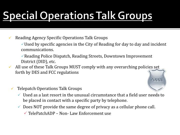Special Operations Talk Groups