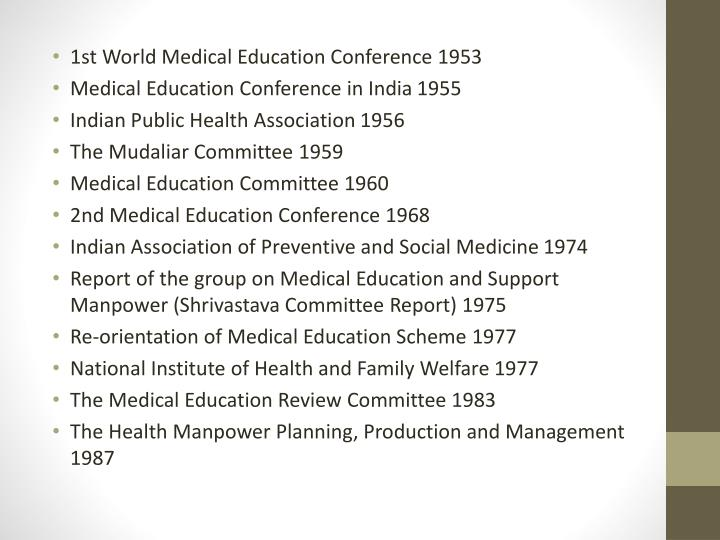1st World Medical Education Conference 1953