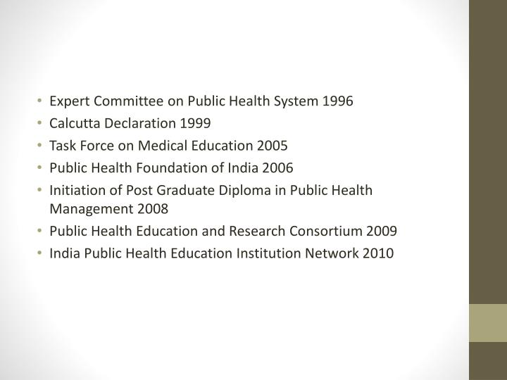 Expert Committee on Public Health System 1996