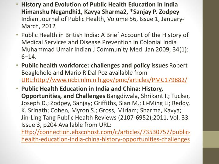 History and Evolution of Public Health Education in