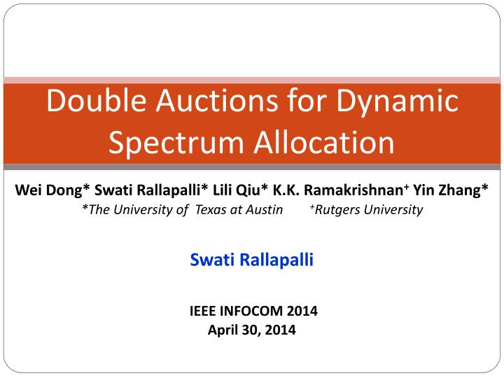 double auctions for dynamic spectrum allocation n.