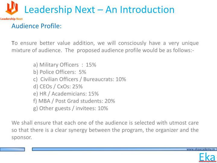 Leadership Next – An Introduction