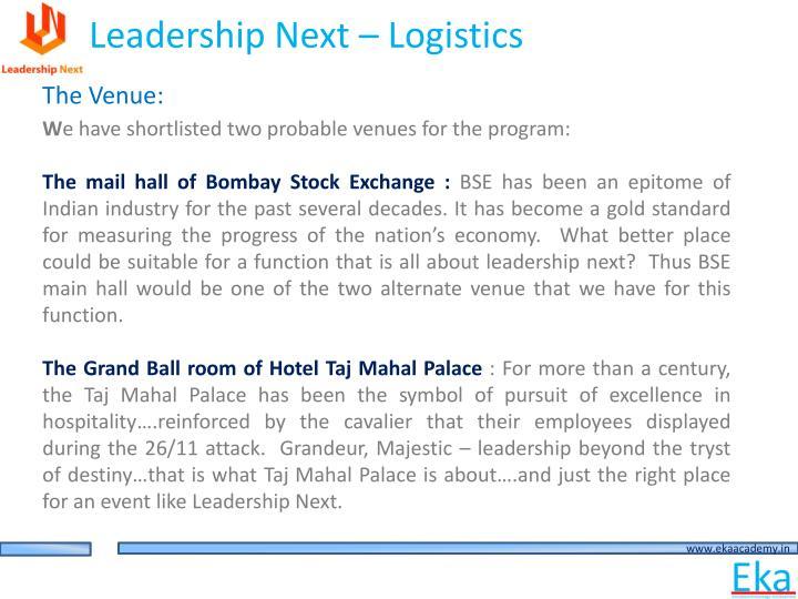 Leadership Next – Logistics