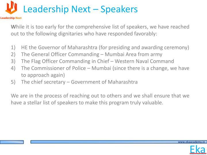 Leadership Next – Speakers