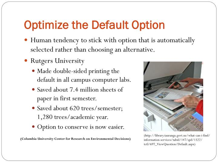 Optimize the Default Option