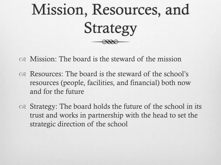 Mission resources and strategy